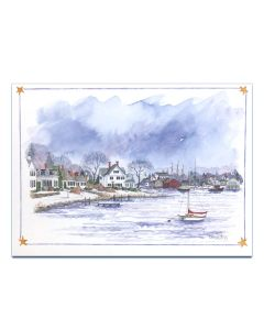 Winter Night on Mystic River Holiday Cards